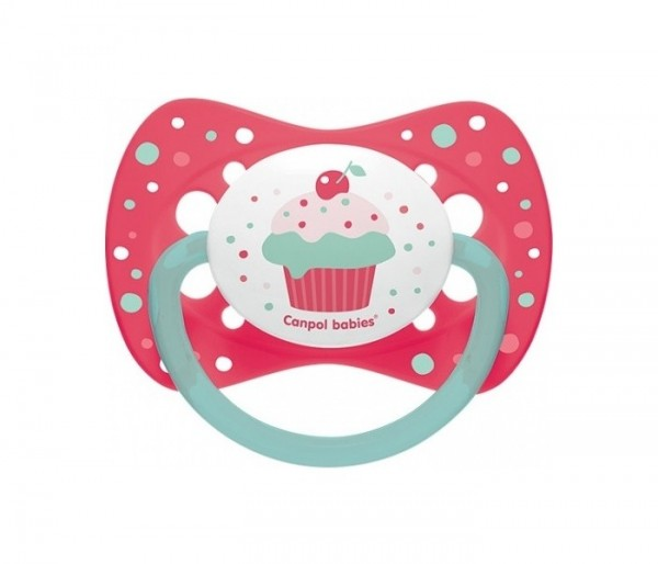 """CANPOL VARALICA SILICON SYMMERTRICAL 0-6M 23282 """"Cupcake"""" - Pink"""